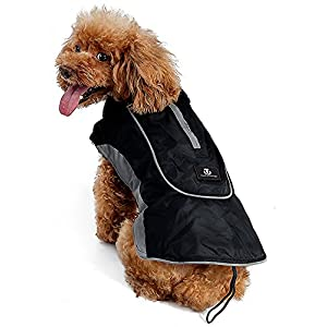 UsefulThingy Winter Coats for Dogs - Rain Jacket with Reflective Stripes for Safety - Warm Waterproof Raincoat with Harness Hole - Best for Small Medium or Large Dog 7 Sizes 2 Colors (L, Black)