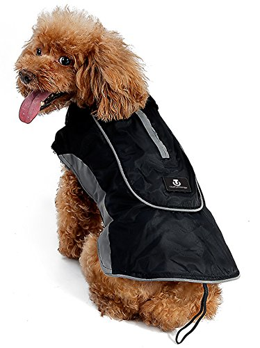 UsefulThingy Winter Coats for Dogs - Rain Jacket with Reflective Stripes for Safety - Warm Waterproof Raincoat with Harness Hole - Best for Small Medium or Large Dog 7 Sizes 2 Colors (M, Black) Great Dane Size Chart