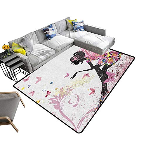 Girls Home Custom Floor mat Fairy Girl with Wings in a Floral Dress Magical Fantasy Garden Flying Butterflies 70