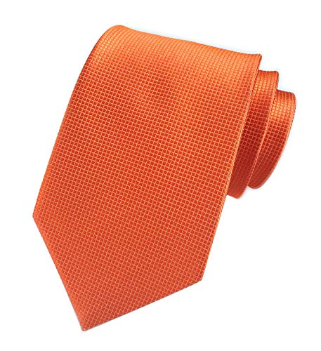 Men's Solid Color Orange Gingham Silk Ties Handmade Micro Plaid 3