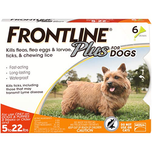 Frontline Plus for Dogs Small Dog (5-22 pounds) Flea and Tick Treatment, 6 Doses - Frontline Plus Dog Flea Control