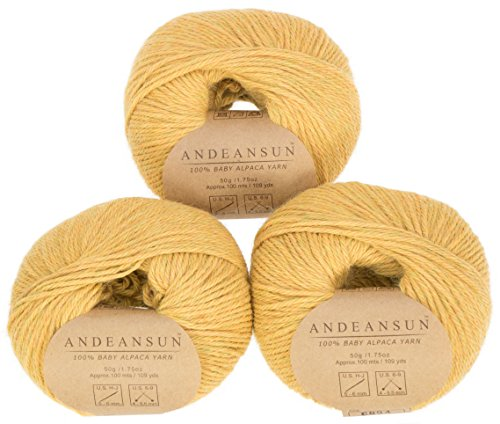 100% Baby Alpaca Yarn Skeins #4 Worsted, Afghan, Aran - SET OF 3 - AndeanSun - Luxuriously soft for knitting, crocheting-Great for baby garments, scarves, and (Sunset Wool Yarn)