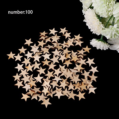 Wivily 100pcs 20mm mini Wood Stars Wooden Mixed Crafts Card making for Scrapbooking Embellishments Mini Star Ornament