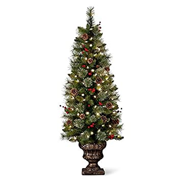 48 pre lit battery operated porch tree outdoor christmas topiary yard decor - White Outdoor Christmas Tree