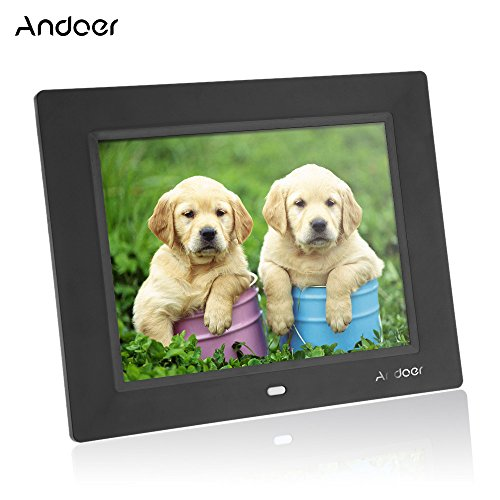 Andoer 8inch Ultrathin HD TFT-LCD Digital Picture Photo Frame Alarm Clock MP3 MP4 Movie Player with Remote Desktop- Black (Alarm Photo Travel Clock)