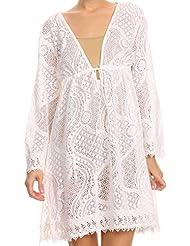Sakkas Cal Long Crochet Lace Embroidered Adjustable Long Sleeve Tall Beach Dress