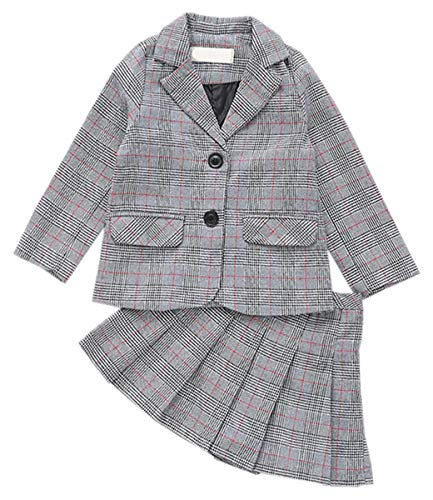 Girls' Skirt Set, 2 Piece Plaid Blazer Jacket + Pleated School Uniform Skirt Outfit Clothes Set for Toddler & Little Girls, Grey, US 7-8 Years = Tag 140