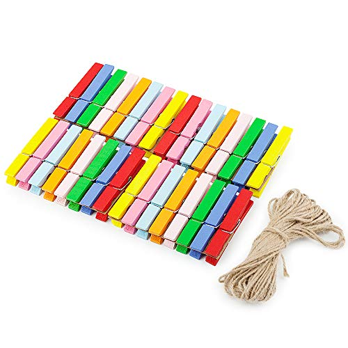 Ninth Five Wooden Clips, 2.9 Inch Large Size Natural Wood Clothespins, Bright Colored Pegs Pins Clips for Photo Paper Craft with Jute Twine, Pack of 32