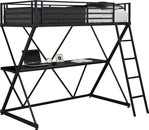 DHP X-Loft Metal Bunk Bed Frame with Desk - Space Saving...