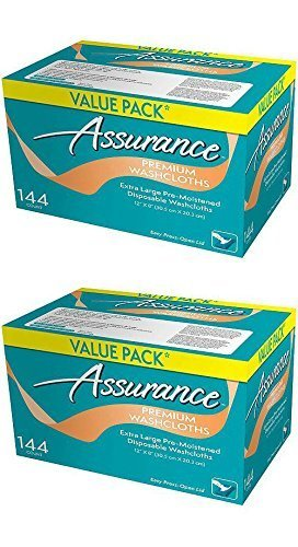 Assurance Premium Washcloths Value Pack 144 Count Carton (2-Carton Multipack 288 Washcloths Total) 4332405519