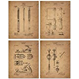 Woodworking Patent Prints - Set of Four 8 x 10 Photos - Wood Carving Vintage Decor