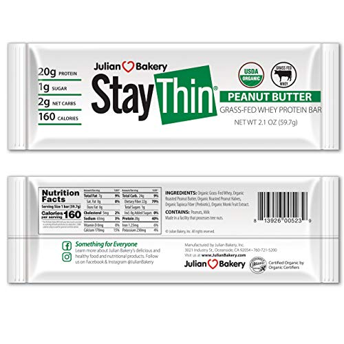 Stay Thin® Protein Bar (Certified Organic) (160 Cal) (20g Grass-Fed Whey Protein) (2 Net Carbs)(4 Ingredients)(1g Sugar)(12 Gluten-Free Bars)