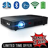 WOWOTO T8E Full HD Mini Portable Projector WiFi&Bluetooth Home Theater Projector Support 1080P Max300'' DLP 3D Video Projector Built in Battery 7800mAh  Android System For Gaming Business&Education
