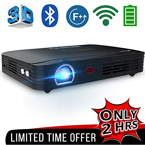 WOWOTO T8E Full HD Mini Portable Projector WiFi&Bluetooth Home Theater Projector Support 1080P Max300'' DLP 3D Video Projector Built in Battery 7800mAh  Android System For Gaming Business&Education by WOWOTO