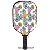 AmaUncle 3D Pickleball Paddle Racket Cover Case,Vintage Inspired Dotted Backdrop with Black and White Artichokes Customized Racket Cover with Multi-Colored,Sports Accessories