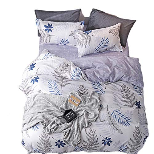 Milkhome Lightweight Microfiber Duvet Cover Set, Single Whispering Leaves Printed Pattern 3/4 Pieces Bedding Duvet Cover Flat Sheet Sets Ultra Soft 100% Washable DC8-Whispering Leaves-S