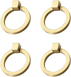 "RZDEAL 4Pcs 2.0""x 1-7/9"" Solid Brass Pulls for Dresser Drawer Ring Pulls Furniture Hardware Brushed Gold Wardrobe Door Handles"