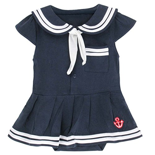 A&J Design Baby Girls' Infant Sailor Dress Bodysuit (6-12 Months, Royal (Sailor Outfit Girls)