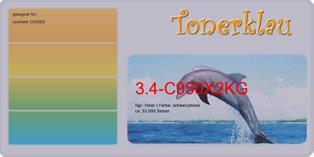 Kompatibel Toner 3.4-C950X2KG für  Lexmark C950DE als Ersatz für Lexmark C950X2KG