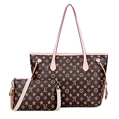 Montmo Handbags Set Shoulder Bag Ladies Designer Satchel Tote Top Handle Work Bag Shouler Totes Bags (Beige)