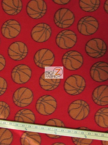 - RED BASKETBALL PRINT POLAR FLEECE FABRIC 60
