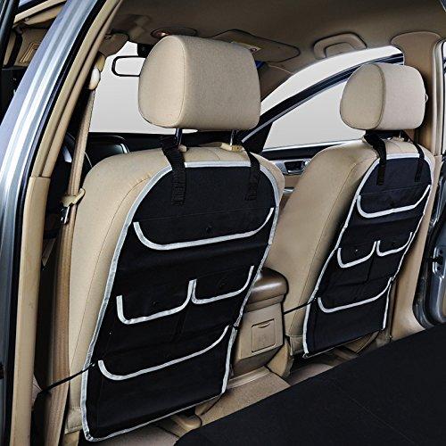 Car Seat Back Organizer Multi-Pocket Travel Storage Bag, Kids Toy Storage, Back Seat Protector/Kick Mat by ANUSA