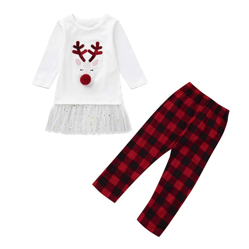 Toddler Baby Girls Christmas Set, Vinjeely Deer Tops+Plaid Pants Christmas Clothes