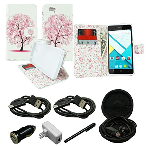 Mstechcorp - Studio Energy D810 T-Mobile AT&T MetroPcs, [Kickstand Feature] Wallet Case [Ultra Slim] Premium PU Leather Flip Cover, Flip Case - Includes [Hands Free Earphone With Carrying Case] + [Touch Screen Stylus] + [Car Charger Data Cable] + [Wall Charger Data Cable] (PINK TREE)