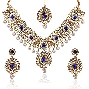 Dancing Girl Women's Kundan Work In Flower & Leaves With Stones Faux s Indian Necklace Set D12B Blue