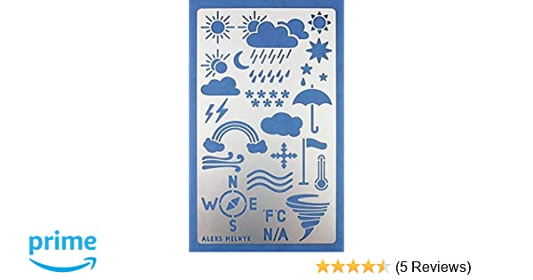 Aleks Melnyk #14 Metal Journal Stencil/Weather Forecast/Stainless Steel  Stencil 1 PCS/Template Tool for Wood Burning, Pyrography and