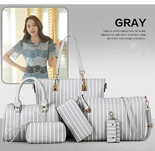 Piezas Compras De Bolso Coreana Rayas Paquete Conjunto Verticales La Tendencia Gray Viaje Totalizador Simplicidad Lucky Elegante Versión Hombro Bolsa Seis Star gray xHnWpO