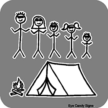 Camping Family Stick People Car Decals Graphics