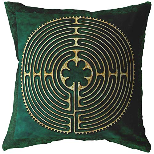 Mandalynths Chartres Catherdal Finger Labyrinth Throw Pillow