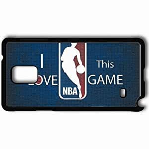 Personalized Samsung Note 4 Cell phone Case/Cover Skin Basketball Logo Background Blue Wall Black