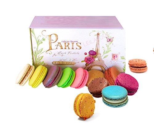 LeilaLove Macarons - 12 Macarons 12 Flavors Paris souvenir Gift Box - Baked to Order