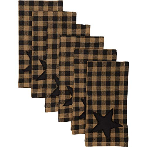 VHC Brands Primitive Tabletop Kitchen Cody Black Classic Cotton Appliqued Star Square Napkin Set of 6, Raven