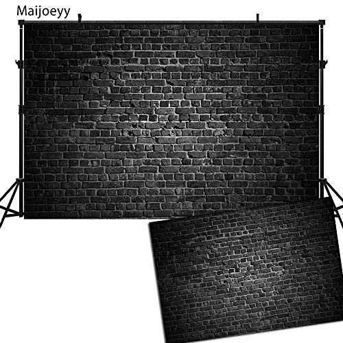 Maijoeyy 7x5t Black Brick Wall Backdrop Black Bricks Photo Backdrop for Pictures Printed Fabric Photography Backdrops Photo Booth Backdrop Photography Props -