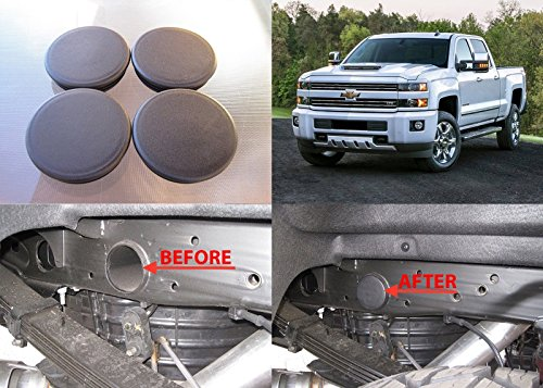 Set of 4 Plugs for 2500HD Silverado Sierra Rear Wheel Well Frame Tube Hole Cap - Fits 2001-2018 GMC Sierra & Chevrolet Silverado 2500 HD Accessory 4x4 2x4 - Frame Tube Hole Plugs Rear WheelWell (Chevy Truck Frame)