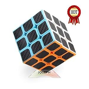 Magic Cube Puzzle cube 3x3x3 rubix cube speed Carbon Fiber Sticker 2.2×2.2×2.2Inches (Black) speed Cube