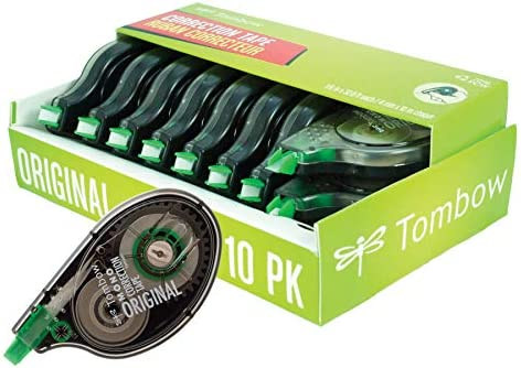 Tombow 68720 MONO Original Correction Tape, 10-Pack. Easy To Use Applicator for Instant Corrections,White