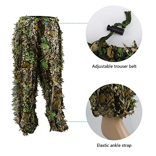 b3ddee91a343f ... Zicac Outdoor Camo Ghillie Suit 3D Leafy Camouflage Clothing Jungle  Woodland Hunting (Height Above 5 ...
