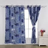 Deconovo Grommet Top New York Digital Print Thermal Insulated Bedroom Window Blackout Curtains, Blue