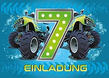 8 Einladungskarten 7. Kindergeburtstag Jungen Monstertruck Siebte  Geburtstag Jungs Geburtstagseinladungen Einladungen Kartenset Monster Truck