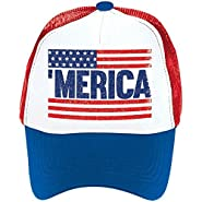 """Old Glory Fourth of July Patriotic Spirit Men's Hat Accessory, Fabric, 6"""" x 10"""" x 4"""""""