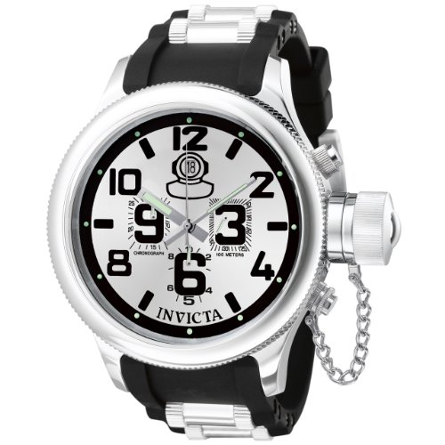 Invicta Men's 0246 Russian Diver Collection Chronograph Black Rubber Watch ()