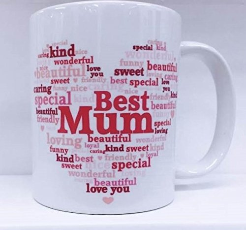 Best Mum Heart White 11oz Mug In Pink Gift Box - Birthday, Mother's Day, Xmas by Cards Galore Online ()