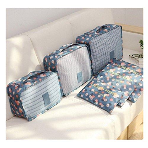 Sucia Nylon Set Maleta Impermeable Material Para 6 Ropa De Blue Flower Equipaje Viaje blue Organizador Bolsa Flower zgng7Sp