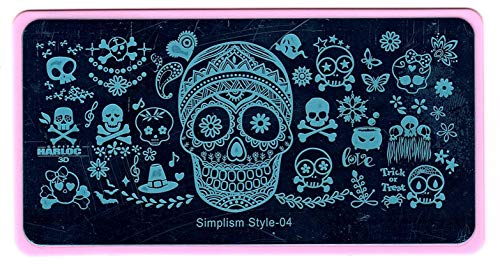 Trick or Treat Harloc Skull Halloween Nail Art DIY Stamping Stainless Steel Template Stencil Image Plate ()