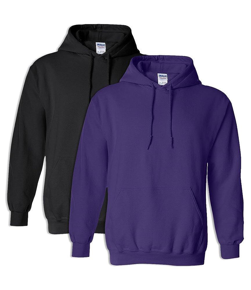 Gildan G18500 Heavy Blend Adult Unisex Hooded Sweatshirt 2XL 1 Black 1 Purple