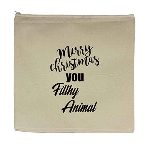 Merry Christmas You Filthy Animal Canvas Zipper Tote Bag Makeup Bag by Style in Print